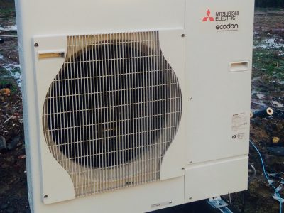 A Mistubishi Air Source Heat Pump, which we installed.